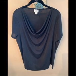 Pretty Glitter Drape Neck Top
